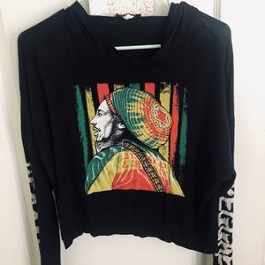 Bob Marley crop hoodie